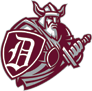 """Danville High School logo of a red viking with a shield with a """"D"""" on it pulling his sword out."""