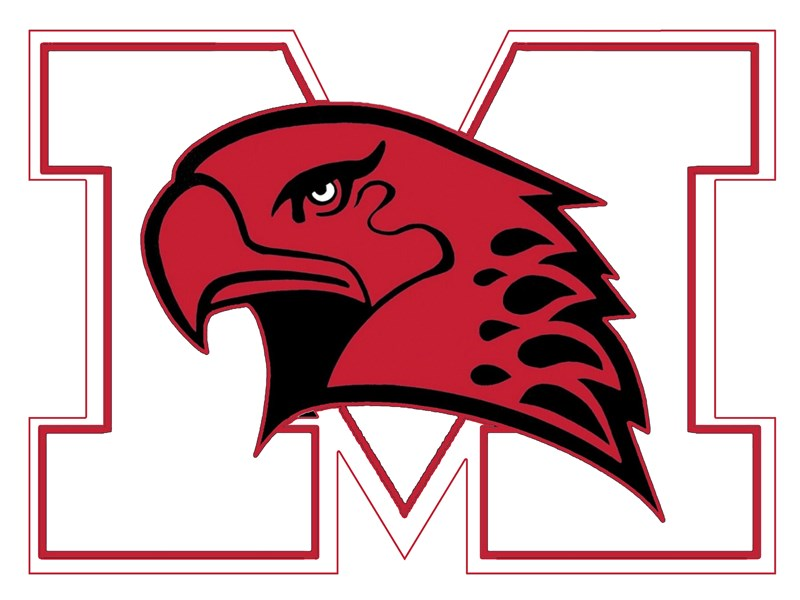 "Marist High School logo of a red hawk's head in front of the letter ""M""."